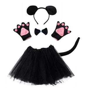 Kid Animal Costume Rabbit Mouse Monkey Bear Wolf Frog Fox Pig Gloves Headband Tutu Halloween Party Cosplay Dress Cartoon