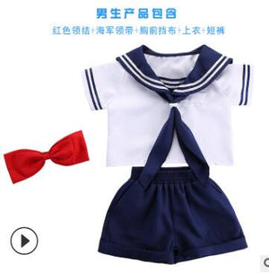 Kids Blue Cute Short Sleeves Boy School Uniform Sailor Suit Halloween Cosplay Costume XsXl
