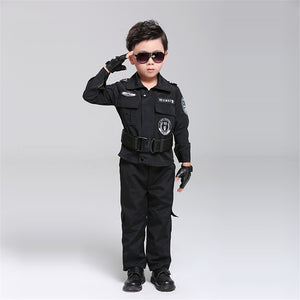 Kids Police Uniform Policemen Costumes Children Cosplay Autumn Winter Boy Army Clothing Performance Special Police Costumes Set