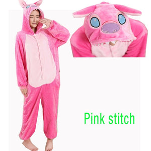 Kigurumi Long Sleeve Hooded Stitch Onesie Pijama Cute Animal Stich Homewear Onesies Adults
