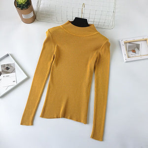 Knit Turtle Neck Gray Sweater Women SpringAutumn Winter Elastic Black Pullovers Long Sleeve Slim Short Bottoming Jumpers Pull