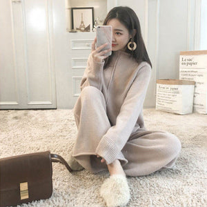 Knitted Sweater Pant 2 Two Piece Sets Women Outfit Tracksuit Luxury Trousers Set Elastic Matching Set Plus Size Long Sleeve V587