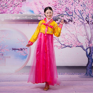 Korean Hanbok Traditional Style National Yarn Dress Wedding Dance Performance Costume Clothing Retro Party