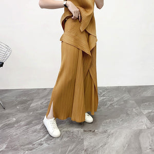 LAANMREM 2020 Fashion Irregular Sleeveless Tops +Loose Vent Wide Leg Pants Two Pieces Sest For Famale Trousers Twinset YH681