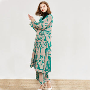 2020 Autumn Winter Products Fashion Retro Wide Leg Pants Jacket Two-piece Women's Printing PA539