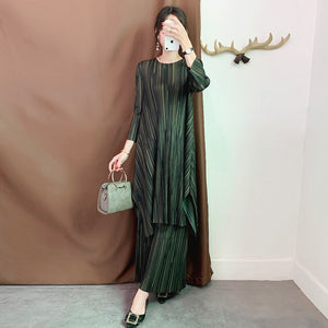 2020 Pleated Vintage Women Clothes O-neck Pullover Dress Wide Legs Pants Two Pieces Set Spring Summer WJ263