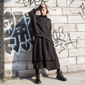 2020 Spring Fashion Women Turtleneck Solid Color Pullover Bat Sleeve Tops Elastic Waist Skirt Set Tide PC974