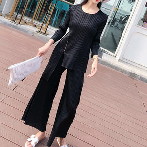 2020 Spring Round Collar Solid Color T-shirt High Waist Wide Leg Pants Women Streetwear Loose Pleated Suit PD599