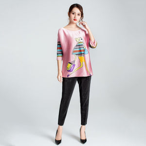2020 Spring Round Collar Stripe Half Sleeve Pleated T-shirt Solid Cropped Pants Women Vintage Pleated Set PD763