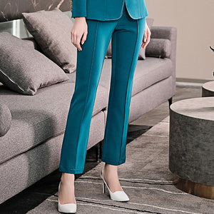 2020 Spring Summer Lapel Double Breasted Long Sleeve Blazer Vintage Solid Color Slim Fit Pants Set Women PD827