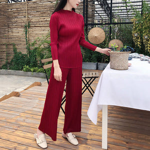 2020 Spring Summer Solid Color Stand Collar Pullover T-shirt High Waist Wide Leg Pants Pleated Set Women Tide PD951