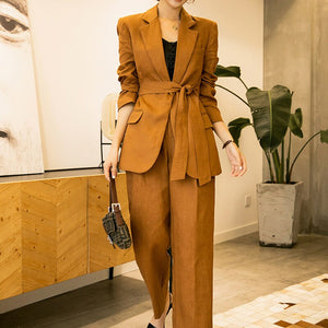 2020 Spring Casual Fashion Women Loose Plus Cotton Solid Color Long-sleeved Suit Jacket Trouser Suit TC775