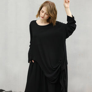 2020 Spring Summer Arrivals O-neck Full Sleeve Irregular T-shirt Ankle-length Pants Women Casual Two Piece Set AW853