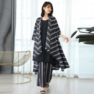 2020 Spring Summer Arrivals Striped Cardigan Belt Elasticated Waist Wide Leg Pants Casual Loose Two Piece Set AW861