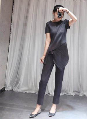 2020 Spring Summer Pleated Suit Fashion Vent Pants + Short Sleeve Round Neck Irregular T Shirt Two Pieces Set YH691