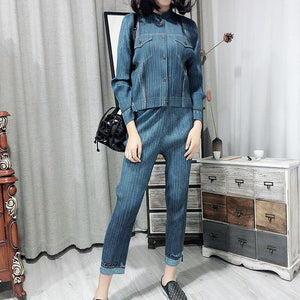 2020 Autumn Products Fashion Solid Color Loose Thin Large Size Denim Blue Wide Leg Pants PA608