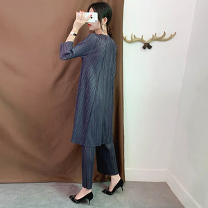 2020 Autumn Pleated Vintage Women Clothes Round Neck Pullover Loose Dress Wide Legs Pants Set Two Pieces WJ262