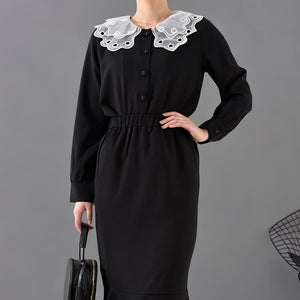 2020 Fashion 's Two Pieces Set Vestido Turn-down Collar Lace Patchwork Full Sleeves Single Breasted Set