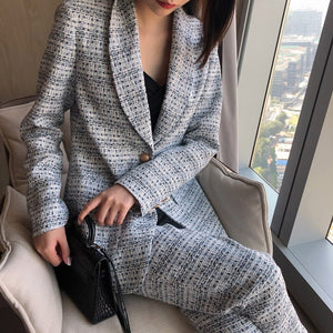 2020 Spring Summer High Street Women's Clothes Turn-down Collar Blazer Plaided Full Length Pants Set WK96305