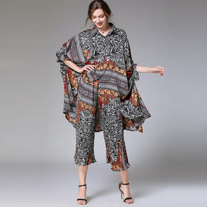2020 Summer Fashion Women Clothing Turn-down Collar Batwing Sleeves Printed Shirt Loose Wide Pants Set WL04407