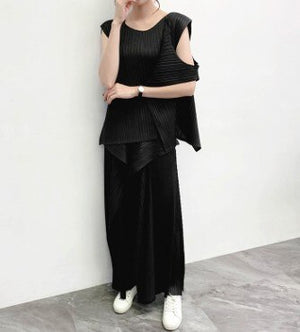 2020 Summer Round Neck Sleeveles Spliced Fake Two Pieces T-shirt Flare Loose Wide Pants Set Fold YH68102