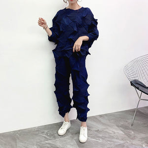 2020 Roud Neck Full Sleeves Pleated Three Quarter Sleeves T-shirt High Waist Elastic Wide Legs Pants Set