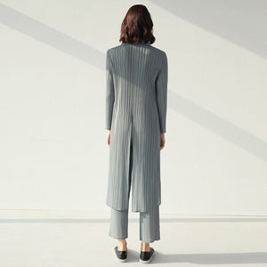 2020 Spring Summer Women's Simple Casual Pleated Two Pieces Set Women's Long Coat + Pants Elastic Waist AR351