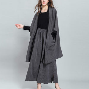 Clear Stocks Fashion Three Quarter Batwing Sleeve V- Collar Striped Coat Elastic Waist Pants Casual Suit Women AC527