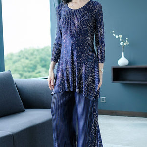 Printed Pleated Round Neck Long-sleeved Shirt Wide-leg Pants Suit Casual Fashion Loose Plus Women 2020 Spring TC834