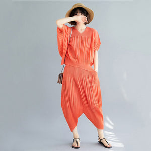 Red Bat Short-sleeved V-neck Pleated T-shirt Seven-point Pants Plus Women Suit Casual Fashion 2020 Summer TV747