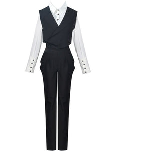 Solid Color Lapel Long-sleeved Shirt With Vest Straight Trousers Three-piece Woman Simple Fashion 2020 Spring TV711