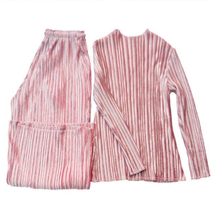 Can Ship Pleated Velvet Two-piece Pant Set Women + Loose Casual Wide-leg Pants Fashion Long Sleeve 2020 Spring YH912