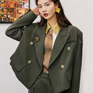Can Ship Temperament Short Style Small Suit Loose Coat + Loose Green Pants Fashion Two Pieces Set Woman 2020 YJ033