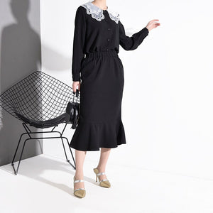 Can Ship Vintage Lace O-neck Long Sleeve Black Dresses Set Women Single Breasted Tops+elastic Wait Skirt 2 Pieces FS363