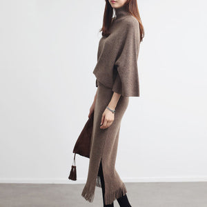 Tassel Half-body Skirt Two Pieces Set For Famale 2020 Tide Turtleneck Three-quarter Sleeve Loose Women Fashion JZ113