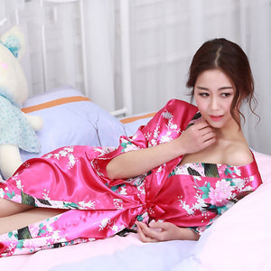 Lace Up Lady'S Japanese Traditional Costumes Kimono Dress Yukata Nightgown Sleepwear Loose Woman Cardigan Dress Silk Robe