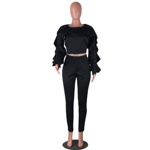 Ladies Autumn Winter Sweat Suits 2 Piece Set Women Long Sleeve Ruffle Crop Top Pencil Pants Casual Tracksuit Two Piece Sets