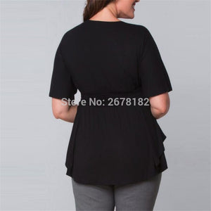 Large Size Tunic Tops Summer Short Sleeve V Neck Black Big Size Shirt Plus Size 3Xl 4Xl 5Xl 6Xl Blouse Women Clothing