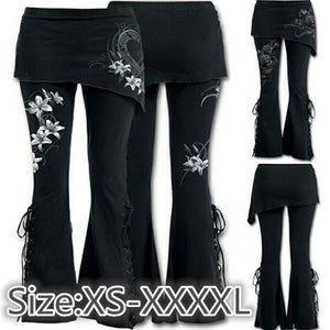 Loose Bell Bottom Pants Women Black Embroidered Casual Bandage Flares Punk Lace Up Elastic Waist Pants #1022 A#487