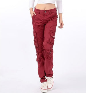 Loose Cotton Army Military Style Multi Pocket Trouser Cargo Pants Women Camouflage Blue Orange Black Red Burgundy