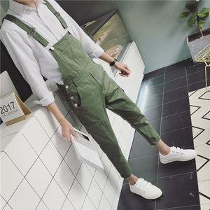 Male Casual Overalls Hip Hop Male Casual Loose Pants Army Green Jumpsuits Men Suspender Trousers 041608