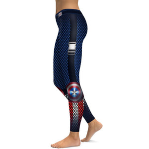 Mchochy BlackBlue Patchwork Captain America Legging Women Sporting Pants Fitness Clothing Punk Rock 3D Exercise Leggins