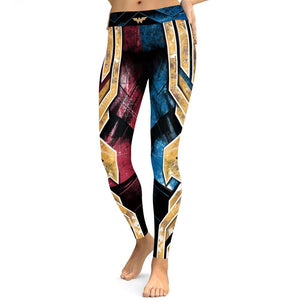 Mchochy Heavy Metal Superhero Wonder Woman Printed 3D Leggings Women Gothic Highly Stretch Fitness Athleisure Leggins