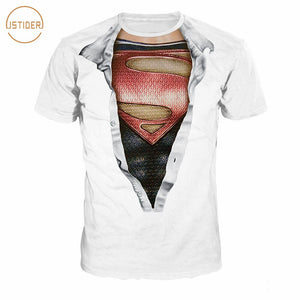 Mchochy Compression TShirt Fake Two Piece Superman Tshirt MenWomen Summer Quick Dry Fitness 3D T Shirt Couple Tops
