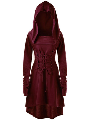 Medieval Costume Women Lace Up Hooded High Low Dress Victorian Casual Hoodies Jacket Coat