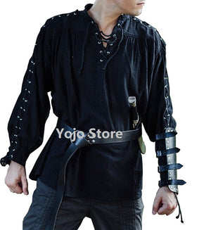 Men Medieval Renaissance Grooms Pirate Reenactment Larp Costume Lacing Up Shirt Bandage Top Middle Age Clothing Adult 3Xl