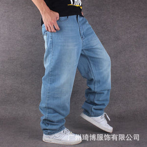 Men Wide Leg Denim Pants Hip Hop Light Blue Casual Jean Trousers Baggy Jeans Rapper Skateboard Relaxed Jean Joggers 71808