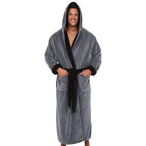 Men'S Winter Lengthened Plush Shawl Bathrobe Home Clothes Long Sleeved Robe Coat Underwear Plus Size #1102 A#487