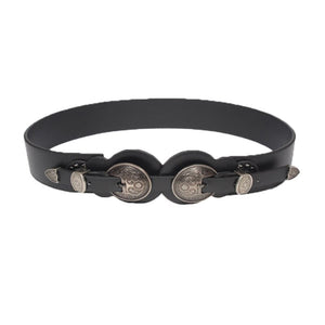 Men Women Vintage Casual Metal Head Cool Waistband Medieval Knights Leather Waistbelt