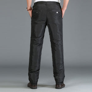 Mens 90% White Duck ColdProof Pants Winter Straight Outside Wear Business Pants Warm Duck Down Padded Trousers 092111